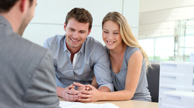 Clients with loan officer getting home loan pre-approval